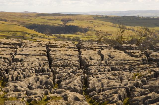 Limestone pavement at top of Malham Cove Yorkshire. Showing clints and grykes.