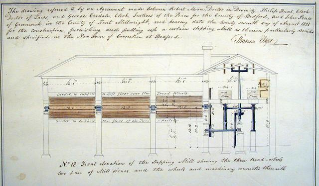 Plans for the treadmill to be built at Bedford New House of Correction 1819. Here it was connected to working mill stones (in many gaols the labour was more pointless and the tread wheel there just as a punishment and occupation for the prisoners. In Bedford it was one of a number of prison refrom i...