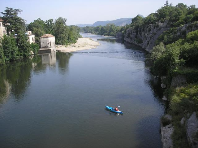 Views of the river Ardeche in Southern France. Pictures are taken, looking downstream, from close to the bridge in the village of Ruoms.