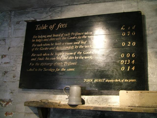 In the early 19th century prisoners had to pay for their food and keep in Gaol, including punishments administered.