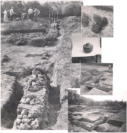 Photographs of excavations carried out at Appleton Roman villa (NHER 3481) in 1947 and 1948.