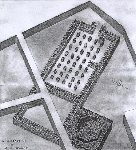Reconstruction of the bath house at Feltwell (NHER 5205). Note that the illustrator does not include the lean-to entrance or changing room and has simplified the shape of the tepidarium.