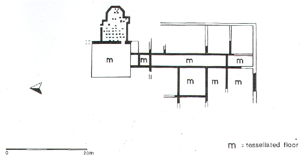 Plan of the excavated villa at Grimston (NHER 3575).