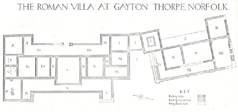 Plan of Gayton Thorpe Roman Villa NEN Gallery