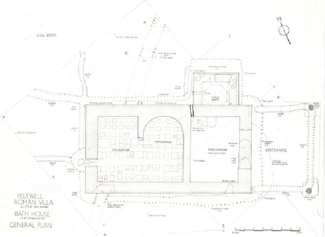 Excavated plan of Feltwell Roman bath house (NHER 5205).