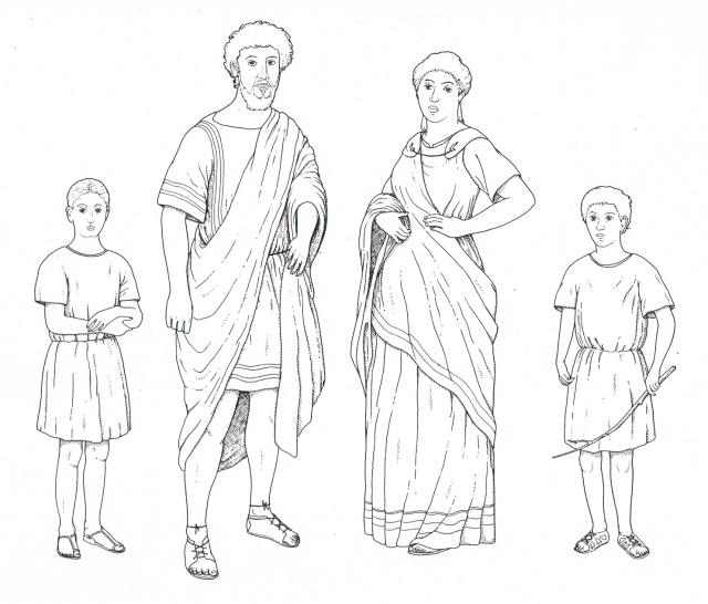 Drawing of a typical Roman family. Would you like to wear clothes like this all the time? Copyright Norfolk Museums & Archaeology Service.