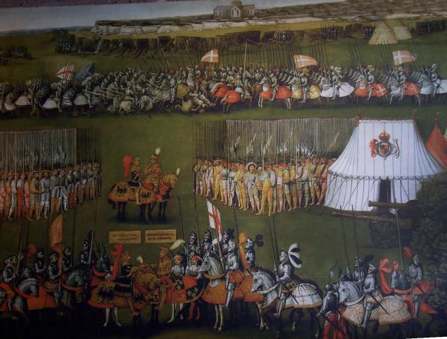 Photograph of part of a painting from around 1520 depicting the 