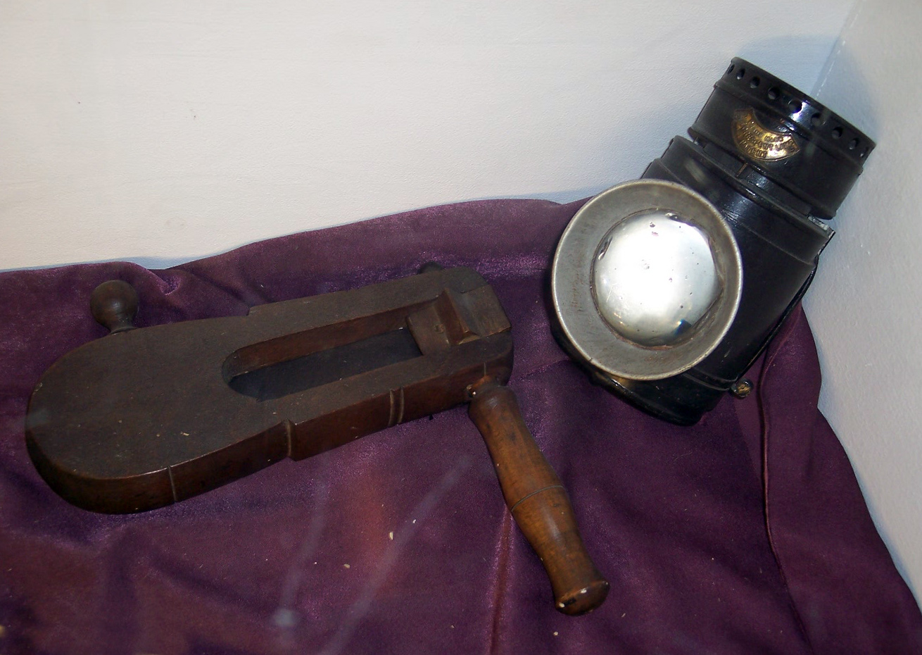 19th century police equipment - Lantern and rattle.