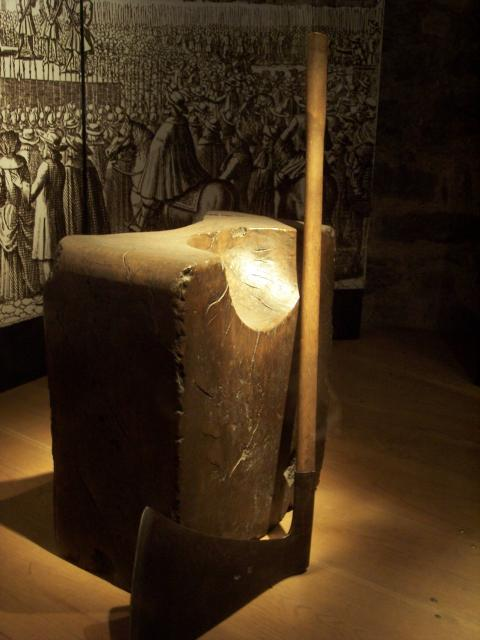 Block and Axe. In Victorian times this was said to be the block on which Ann Boleyn died but this is not true, as she was beheaded by a French swordsman kneeling and not by the axe, as a special favour from King Henry VIII. The block is probably of the Tudor period.