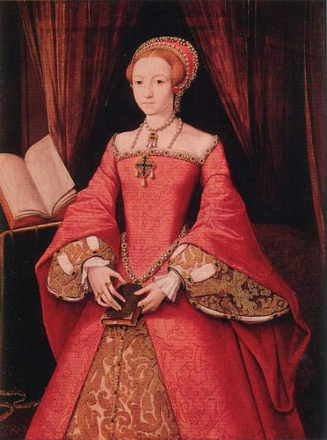 Princess Elizabeth aged 13,(1546), painted by William Scrots. This portrait was given by the Princess, to her half-brother, Edward VI.