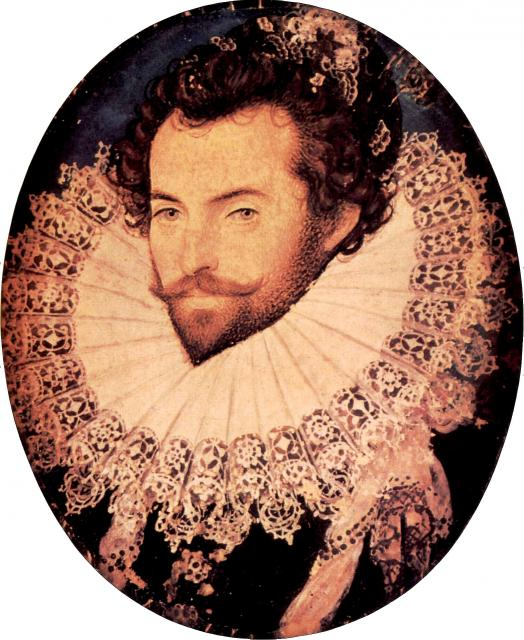 Portrait by Nicholas Hilliard, c. 1585. Sir Walter Raleigh (1552 � 29 October 1618), was a famed English writer, poet, courtier and explorer. He was responsible for establishing the first English colony in the New World. He was imprisoned in t...