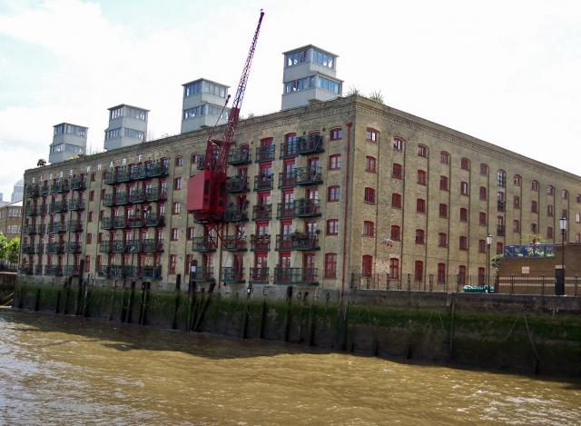 Globe Wharf is a very fine listed warehouses at Rotherhithe. It was built in 1883 as a grain warehouse and later used as a rice mill. It now houses apartments. Picture taken 31st July 2007.