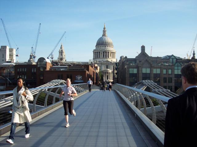 People crossing the Millennium Bridge, London : NEN Gallery