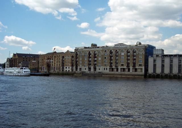 Warehouses close to the location of the former Execution Dock. The picture shows the Gun wharves warehouse apartments Wapping. During the 19th century massive warehouses and commercial buildings like those illustrated were erected, while the building of the docks made the region a virtual island. Th...