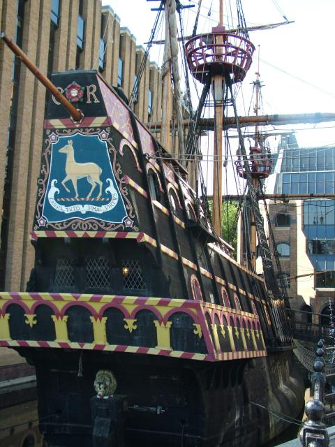 This is a full-size replica of Sir Francis Drake's 16th century galleon and is moored on the south bank of the Thames at Southwark. The replica itself has travelled the world, having covered over 140,000 miles under sail.