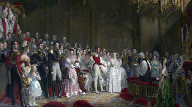 By trabajo propio. Queen Victoria married married her first cousin, Prince Albert, on 10 February 1840, in the Chapel Royal of St. James's Palace, London. Albert was also an an important political advisor to the Queen.