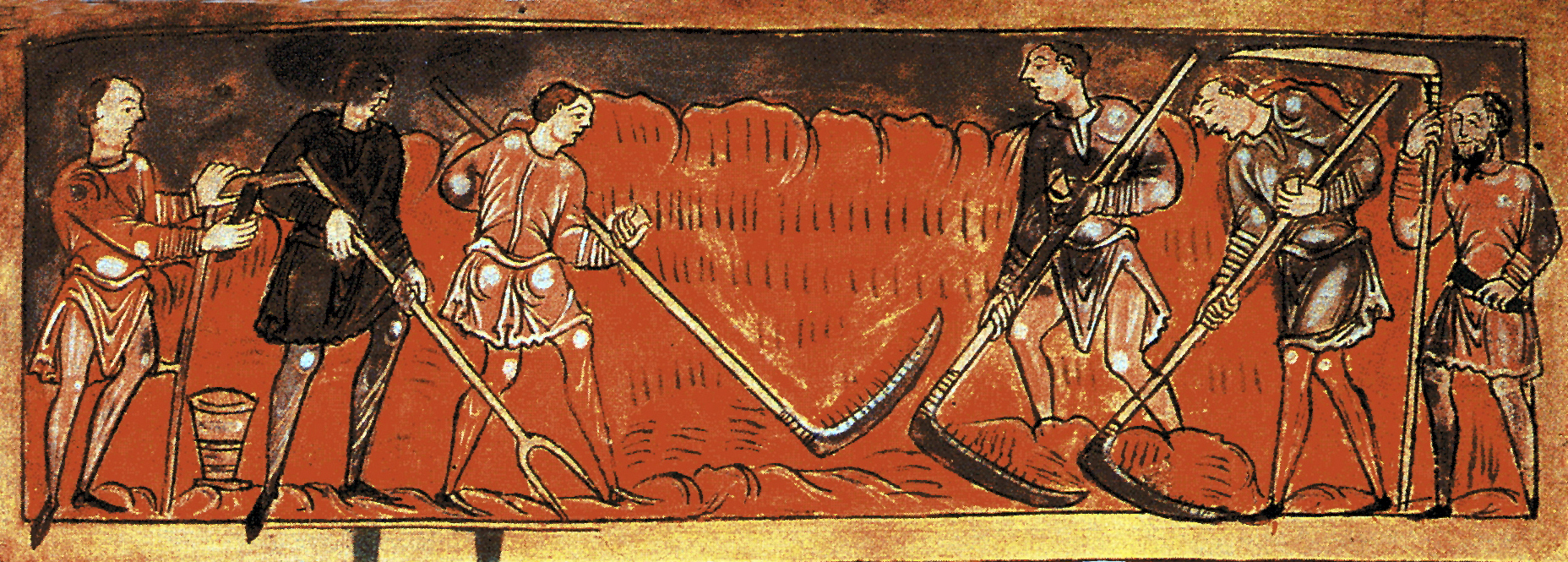 Men scything the land. Anglo-Saxon calendar, 11th century.