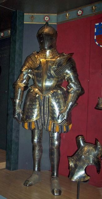 Armour of William Somerset. Ordered from the Royal workshops at Greenwich. Such orders for costly armour were encouraged by royalty. The armour was made by John Kettle around 1570. William Somerset was a commissioner for the trial of Mary Queen of Scots in 1586.
