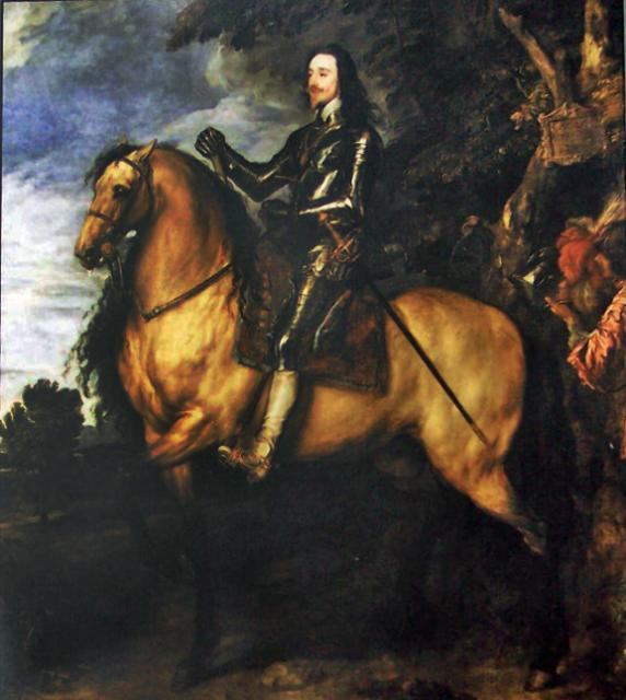 Photograph of part of a painting of Charles I on horseback by Anthony van Dyck. Born 19 November 1600, the fourth child of King James VI of Scotland and I of England. In 1625 he became King of England. He believed he ruled by divine right and was answerable only to God, which brought him into confli...