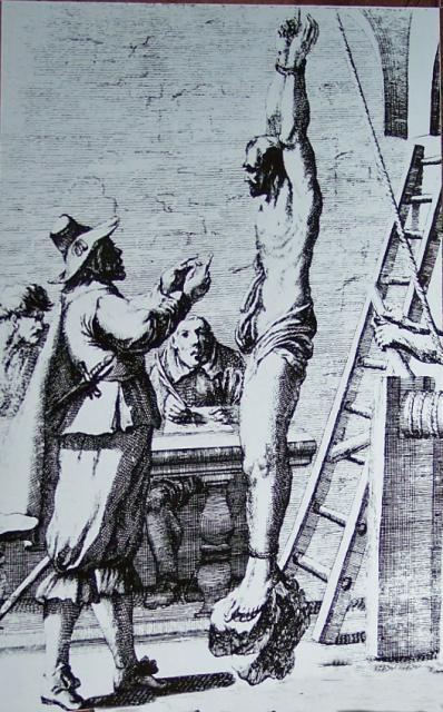 A 17th century engraving showing the Catholic Nicholas Owen being tortured in the Tower. He may have died under torture, though his gaolers claimed that he stabbed himself.