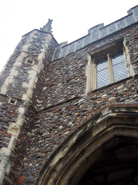 This 15th century gatehouse is virtually all that survives of the Benedictine Abbey of Sr John founded in 1096 by an official of the Norman court of King William Rufus. It was supressed on the orders of King Hnery VIII. the facade once looked out onto the medieval town of Colchester.  It is decorate...