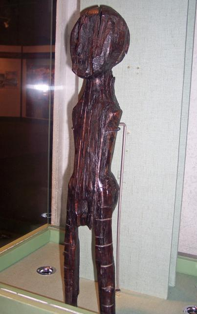 Dating from around 2500BC this is the second oldest human depiction found in this country. It was found in a marsh area near the Thames in Dagenham. The wood is pine. Picture taken Colchester Castle Museum June 2007.