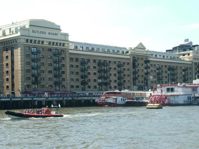 Buildings along the south bank of the River Thames in London. Many of the former dockside warehouses have been turned into executive apartment blocks.
