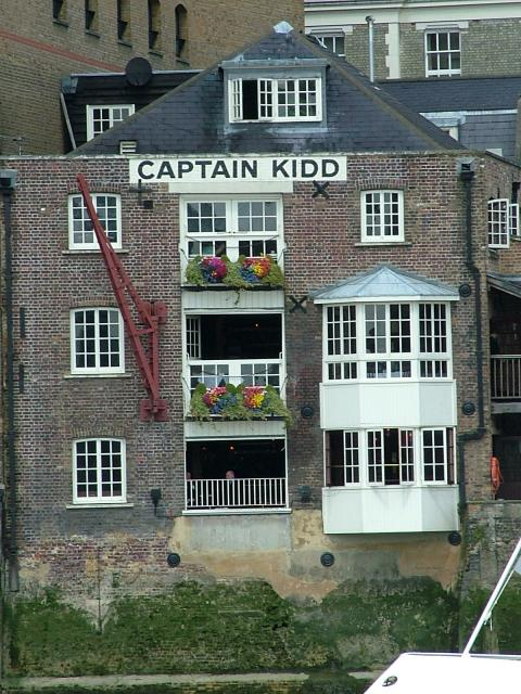 The Captain Kidd public house on the River Thames at Wapping. It is close to where Execution Dock stood where pirates were hanged.