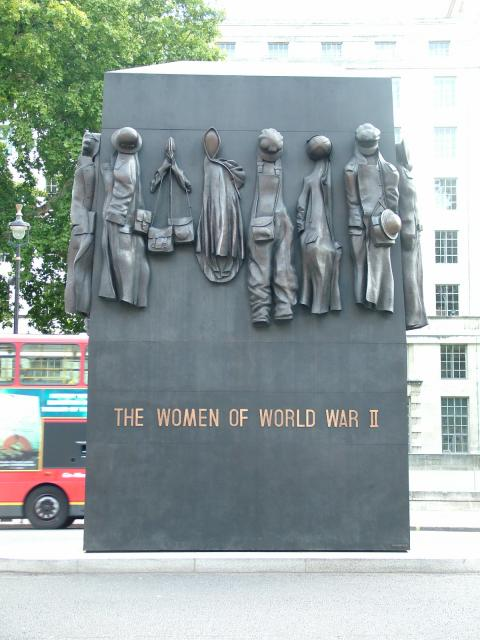 Monument to the Women of World War II, situated in Whitehall, London which was unveiled in July 2005. The bronze sculpture which depicts images of hats, respirators, uniform and overalls was placed near the cenotaph in Whitehall. The memorial was designed by John Mills who also created the blitz fir...