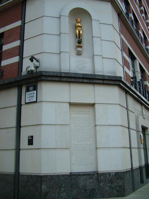 The Golden Boy at Pye Corner was erected to mark the spot where the Great Fire of London ended. The fire had begun at Pudding Lane and ended at Pye Corner and many of the people of the city believed that this was highly significant and that the fire was a punishment from God for the sin of gluttony....