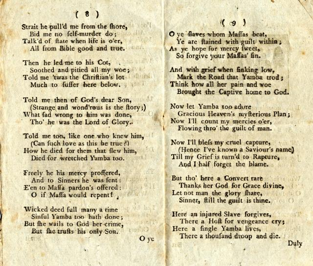 The Sorrows of Yamba or the Negro Woman's Lamentation published 1795 and