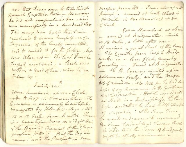 With permission of the Record Office: St John's College Library, Cambridge. The diary outlines Clarkson's Travels in West Country & Wales 25 June 1787 - 25 July 1787.