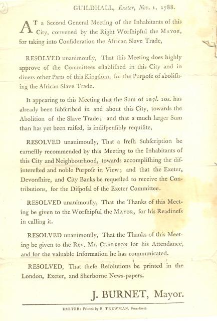 The Abolition Project Handbill 1788 (Exeter):