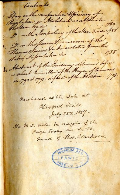 Handwritten notes on flyleaf at beginning of book. Essay on the Slavery & Commerce of the Human Species etc translated from the Latin Dissertation etc 1788..