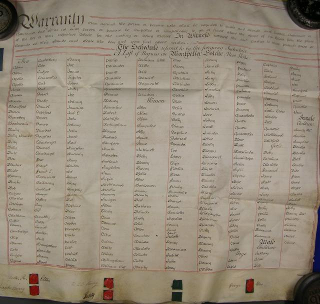 Indenture and List of Negroes on Montpelier Estate (New Works) 31 July 1798