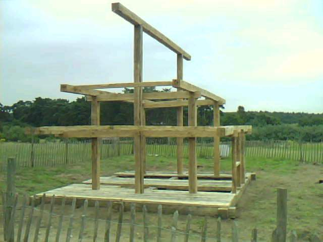 Frame work of the reconstruction of Anglo Saxon dwelling at West Stow in Suffolk