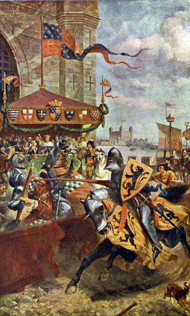 Cartoon by Richard Beavis of the Solemn Joust on London Bridge between David de Lyndsays, Earl of Crawford and Lord John de Welles, Ambassador of King Richard II in 1390.
