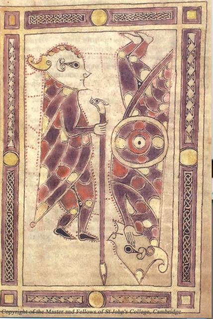 Irish Psalter, 10-11th century.  This is a picture of David and Goliath.  David is on the left holding a staff with a beast's head. Goliath is upside down on the right.