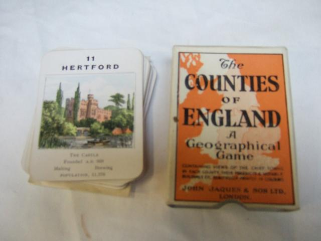 The Counties of England : A Geographical Game.  A card game in four packs: the first pack covers the North, the second the Midlands, the third  the is the Eastern area and the fourth is of Southern England.  
