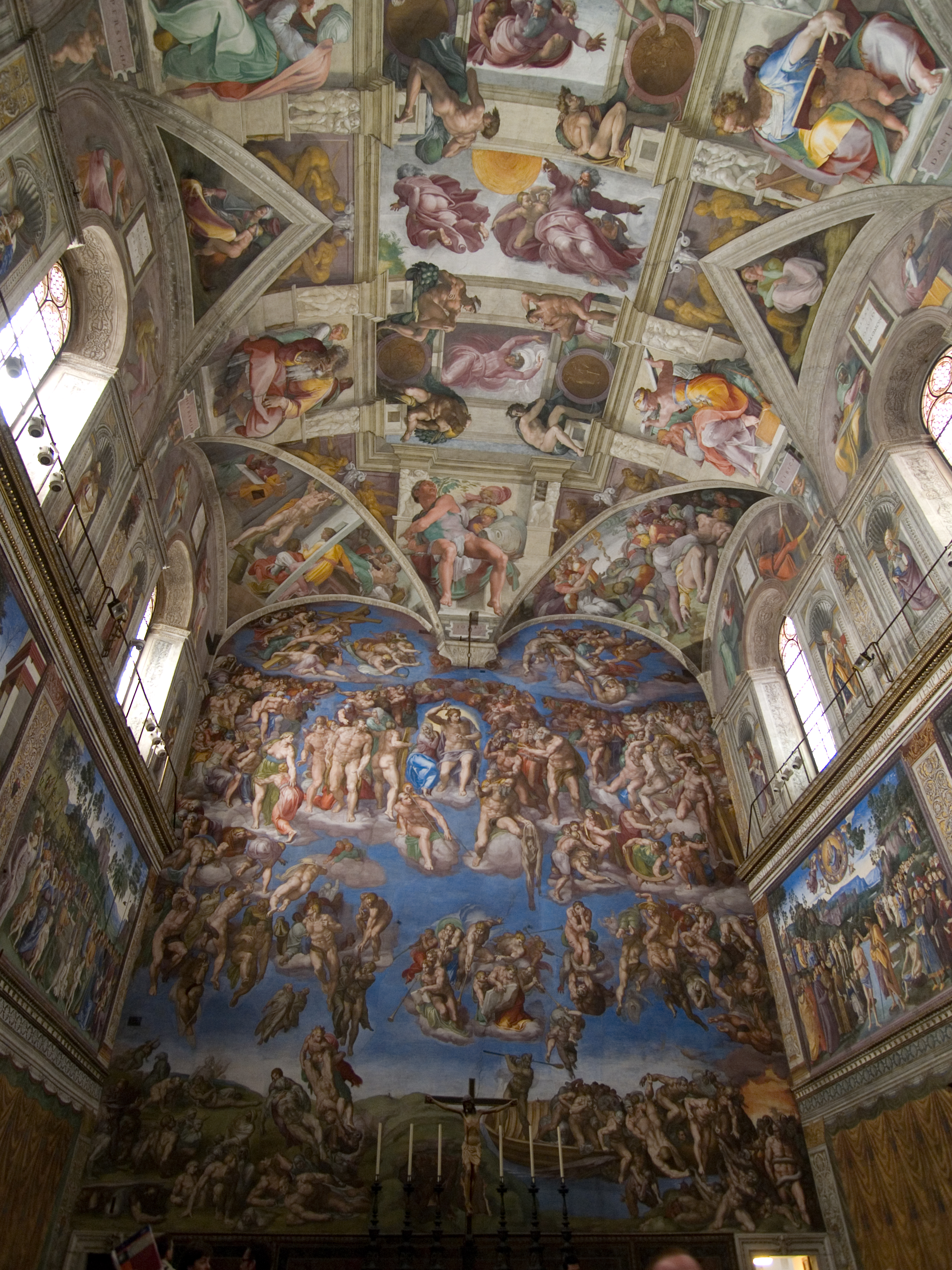 an overview of the sistine chapel - 126 - hidden anatomy in the sistine chapel ceiling: an overview averlicchi the creation of the sun,moon,and plants (c2):human male genitals (in the rolled fold of god's cloak between his legs and buttocks) and female genitals (in the cape of the.