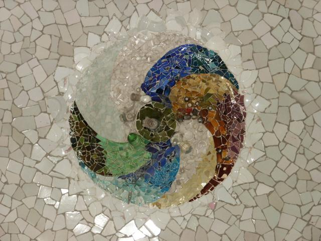 Mosaics by Gaudi at the Parc Guell in Barcelona, Spain