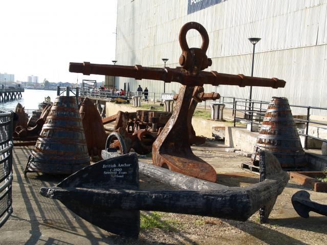 Anchors in Portsmouth Dockyard dating from to the 1800's
