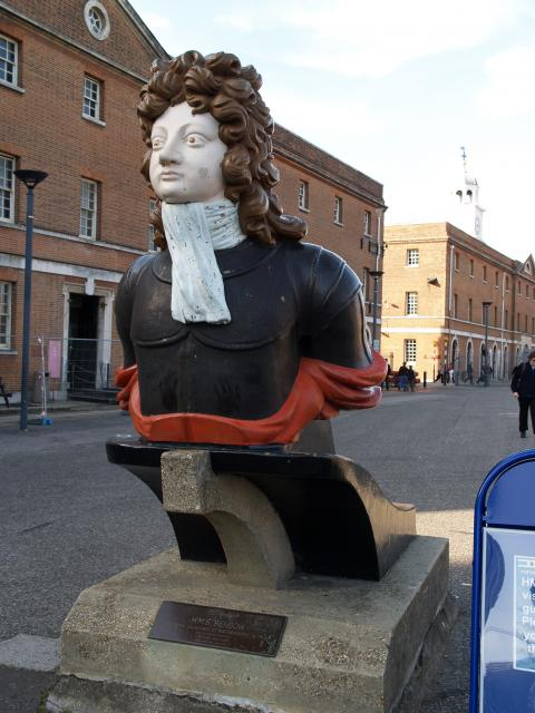 Figurehead from HMS Benbow, 72 guns, launched at Rotherhithe in 1813. The figurehead represents Vice Admiral John Benbow, 1653-1702