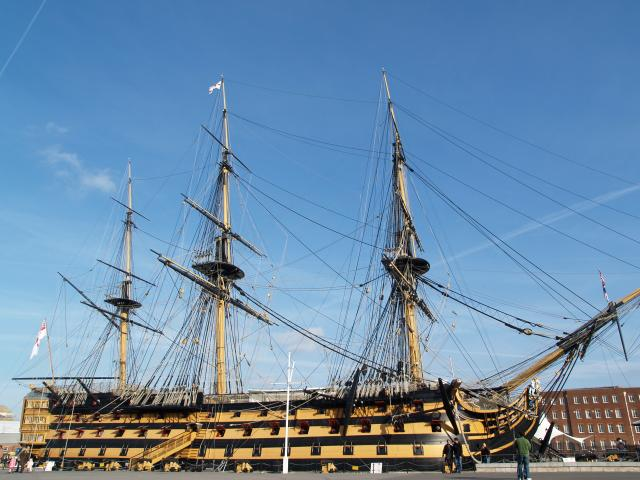 HMS Victory, Portsmouth Dockyard. Admiral Nelson's Flagship of the Royal Navy. 104 gun ship, launched 1765. The oldest Royal navy ship still in commission
