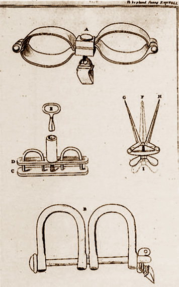 Restraining tools and other items used to keep order on the ships.