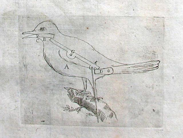 A mechanical bird from Salomon de Caus' 'Les raisons des forces mouvantes' published in Frankfurt in 1615.  De Caus was an engineer for Louis XIII of France but also designed gardens, using features such as this bird, in both Germany and England.