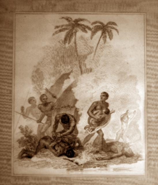 Capture of Africans. An illustration from the 'The abolition of the slave trade, a poem, in four parts' by James Montomery, 1814.