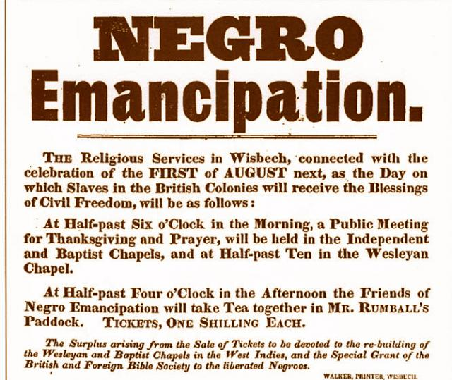 Announcing a religious service in Wisbech and a thanksgiving tea in celebration of emancipation in the British Colonies on 1st August 1833. 