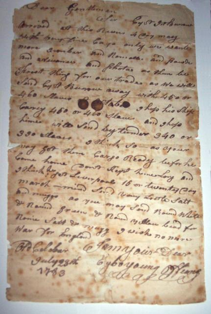 Letter to the Liverpool Merchants dated 23rd July, 1783. The letter outlines the merchandise required in exchange for slaves and sailing dates. Possibly from Clarkson's chest.