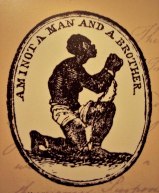The design was commissioned by the mater potter Josiah Wedgwood, a committed supporter of the abolition cause and initially manufactured by his company as a ceramic medallion. The image and slogan were much copied and reproduced on a wide variety of other items in order that sympathisers could clear...